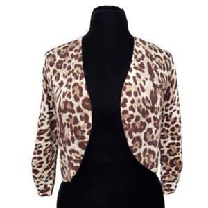 Chicos Animal Print Open Front Shrug Small